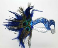 Blue and  Silver Peacock Mask
